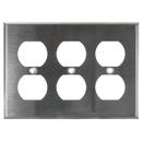 Sunlite 50650-SU E213/S 3 Gang Duplex Receptacle Plate, Steel