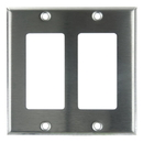 Sunlite 50718-SU E302/S 2 Gang Decorative Switch and Receptacle Plate, Steel