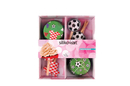 Silikomart 70.172.02.0065 Baking Cups - Set 24 Paper Cases + 24 Cake Topper Picks Football