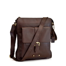 Style N Craft 392002 Cross Body Tall Messenger Bag in Dark Brown Leather