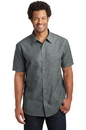 District Made Mens Short Sleeve Washed Woven Shirt. DM3810.