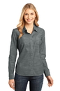 District - Ladies Long Sleeve Washed Woven Shirt. DM4800.