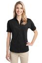 Port Authority - Ladies Stretch Pique Button-Front Shirt. L556.