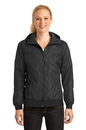 Sport-Tek Ladies Embossed Hooded Wind Jacket. LST53.