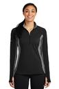 Sport-Tek Ladies Sport-Wick Stretch Contrast 1/2-Zip Pullover. LST854.