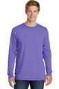 Port & Company Essential Pigment-Dyed Long Sleeve Pocket Tee. PC099LSP.