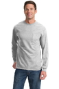 Port & Company Tall Long Sleeve Essential T-Shirt with Pocket. PC61LSPT.