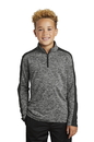 YST397 Sport-Tek Youth PosiCharge Electric Heather Colorblock 1/4-Zip Pullover