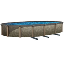 Blue Wave NB12936 Riviera Oval 54-in Deep Steel Wall Hybrid Above Ground Pool w/ 8-in Top Rail - 12-ft x 24-ft / 54-in