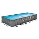 Summer Waves Elite NB2134 Dark Wicker 12-ft x 24-ft Rect. Metal Frame Pool Package - 52-in Deep
