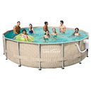 Summer Waves Elite NB2234 Light Wicker 12-ft x 24-ft Rect. Metal Frame Pool Package - 52-in Deep