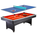 Carmelli NG1023 Maverick 7-foot Pool and Table Tennis Multi Game with Red Felt and Blue Table Tennis Surface, Cues, Paddles and Balls