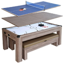 Carmelli NG1137H Driftwood 7-ft Air Hockey Table Tennis Combo Set w/Benches