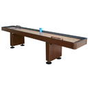 Carmelli NG1218 Challenger 14-Ft Shuffleboard Table w Walnut Finish, Hardwood Playfield, Storage Cabinets