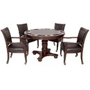 Carmelli NG2348W Bridgeport 2-in-1 Poker Game Table Set - Walnut Finish