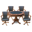 Carmelli NG2351 Kingston Oak 3-in-1 Poker Table w/ 4 Arm Chairs