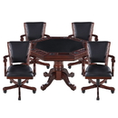 Carmelli NG2366 Kingston Walnut 3-in-1 Poker Table w/ 4 Arm Chairs