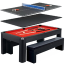 Carmelli NG2530PR Park Avenue 7-Foot Pool Table Tennis Combination with Dining Top, Two Storage Benches, Free Accessories