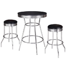 Carmelli NG2725BL Remington 3 Piece Pub Table Set - Chrome and Black
