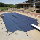 Arctic Armor WS2064B 20-Year Ultra Light Solid In-Ground Pool Safety Cover w/ Step Section - Blue / 16-ft x 32-ft / Center End Step