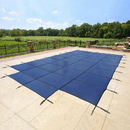 Arctic Armor WS335BU 18-Year Mesh In-Ground Pool Safety Cover w/ Step Section - Blue - Blue / 16-ft x 32-ft / Center End Step