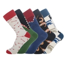 TOPTIE 5 Pairs Novelty Funny Crew Socks Colorful Crocodile Shark Arrow Monster Shrimp Hi-Hop Cotton Dress Socks