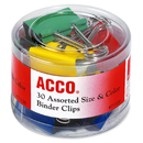 Acco Colored Binder Clips, Assorted - Assorted