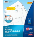 Avery Big Tab Large White Label Tab Dividers, AVE14441