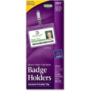 Avery Landscape Badge Holder with Clip, Horizontal - Plastic - 50 / Box - Clear