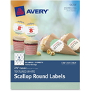 Avery Textured White Print-to-the-Edge Scallop Round Labels, AVE8218
