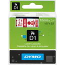 Dymo Red on White D1 Label Tape, 0.50