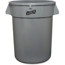 Genuine Joe Heavy-duty Trash Container, 32 gal Capacity - Plastic - Gray