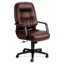 HON Pillow-Soft 2091 Executive High-Back Chair, Leather Burgundy Seat - Black Frame - 26.3