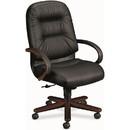 HON Pillow-Soft 2191 Executive High-Back Swivel Chair, Black Mahogany - Leather Black Seat - Upholstery Back - Mahogany Frame - 26.3