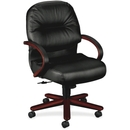 HON Pillow-Soft 2192 Managerial Mid Back Chair, Black - Leather Black, Foam Seat - Upholstery Back - Wood Mahogany Frame - 26.3