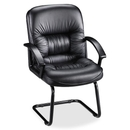 Lorell Tufted Leather Executive Guest Chair, Black - Leather Black Seat - Black Frame