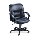 Lorell Leather Tufted Mid-Back Chair, Leather Black Seat - Black Frame