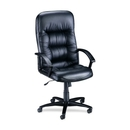 Lorell Tufted Leather Executive High-Back Chair, Leather Black Seat - Black Frame