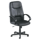 Lorell Chadwick Executive Leather High-Back Chair, Leather Black Seat - Black Frame