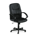Lorell Chadwick Managerial Leather Mid-Back Chair, Leather Black Seat - Black Frame - 26