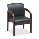 Lorell Deluxe Faux Guest Chair, Black Cherry - Leather Black Seat - Wood Cherry Frame - 23