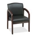 Lorell Deluxe Guest Chair, Black Mahogany - Faux Leather Black Seat - Wood Mahogany Frame - 23
