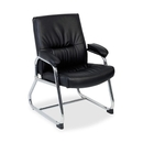 Lorell Bridgemill Leather Guest Chair, Leather Black Seat - Aluminum Frame