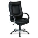 Lorell Stonebridge Leather Executive High-Back Chair, Leather Black Seat