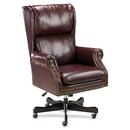 Lorell Traditional Executive Swivel Tilt Chair, Vinyl Oxblood Seat - Hardwood Mahogany Frame - 29