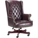 Lorell Traditional Executive Swivel Chair, Oxblood - Vinyl Oxblood Seat - Hardwood Mahogany Frame - 30