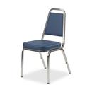 Lorell 8925 Vinyl Upholstered Stacking Chair, Chrome - Vinyl Blue Seat - Chrome Frame - 18