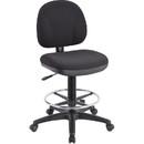Lorell Pneumatic Adjustable Multi-task Stool, Black - Black Seat - 24