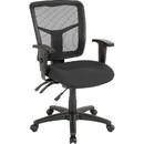 Lorell 86000 Series Managerial Mid-Back Chair, Black - Mesh Black, Fabric Seat - Mesh Back - Black Frame - 25.3