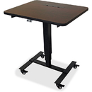 Lorell Mahogany Laminate Top Mobile Sit-To-Stand Table, LLR99979